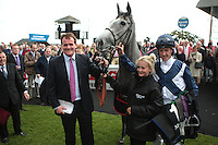 2012.09.09 - Horse Racing - The Curragh Racecourse - Moyglare Stud Stakes.Sky Lantern winning trainer Richard Hannon and Jockey Richard Hughes in the parade ring after winning the Moyglare Stud Stakes at The Curragh Racecourse in Kildare, Ireland