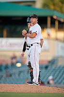 Jupiter Hammerheads manager Kevin Randel (10) waits on the mound after making a pitching change during a game against the Palm Beach Cardinals on August 4, 2018 at Roger Dean Chevrolet Stadium in Jupiter, Florida.  Palm Beach defeated Jupiter 7-6.  (Mike Janes/Four Seam Images)