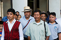 Members of the AJR at the first day of retired General Lopez Fuentes&rsquo; trial. Formally charged for genocide and crimes against humanity against the Maya Ixil people, General Fuentes was found unfit to stand trial in 2013.<br /> The AJR is an association of survivors of massacres committed during the armed conflict.<br /> Supreme Court, Guatemala City, September 2011.