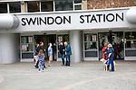 People outside Swindon railway station, Swindon, England