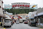 the main drag in downtown Ketchikan, Alaska which proclaims itself the salmon capital of the US