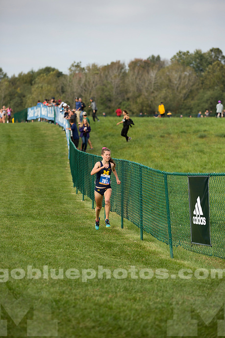 Michigan women's cross country runner Erin Finn leads the pack at the Indiana State Pre-National Cross Country Invitational on Saturday, Oct. 15, 2016, in Terre Haute, Indiana. (Photo by James Brosher)