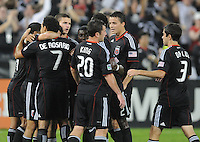 D.C. United forward Dwayne De Rosario (7) celebrates with teammate his second goal in the 27th minute of the game.  D.C. United defeated Real Salt Lake 4-0 at RFK Stadium, Saturday September 24 , 2011.