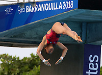BARRANQUILLA - COLOMBIA, 22-07-2018: Competidora Viviana Del Angel de México , modalidad 10m plataforma.Juegos Centroamericanos y del Caribe Barranquilla 2018. /Competitor  Viviana Del Angel de México, 10m platform platform of the Central American and Caribbean Sports Games Barranquilla 2018. Photo: VizzorImage /  Contribuidor