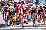 Caleb Ewan (AUS) Lotto-Soudal crosses the finish line ahead of Arnaud Demare (FRA) Groupama-FDJ at the end of  Stage 11 of the 2019 Giro d'Italia, running 221km from Carpi to Novi Ligure, Italy. 22nd May 2019<br /> Picture: Fabio Ferrari/LaPresse | Cyclefile<br /> <br /> All photos usage must carry mandatory copyright credit (© Cyclefile | Fabio Ferrari/LaPresse)