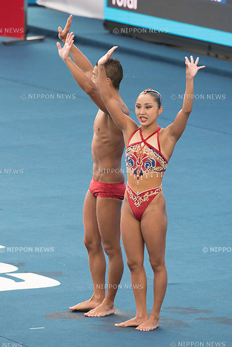 Yumi Adachi & Atsushi Abe (JPN), JULY 15, 2017 - Synchronized Swimming : 17th FINA World Championships 2017 Budapest Mixed Duet Technical Routine Preliminary round at City Park - Varosliget Lake in Budapest, Hungary. (Photo by Enrico Calderoni/AFLO)