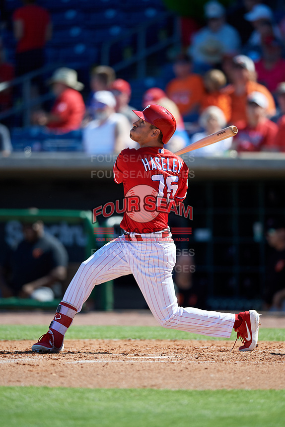 Philadelphia Phillies center fielder Adam Haseley (75) follows through on a swing during a Grapefruit League Spring Training game against the Baltimore Orioles on February 28, 2019 at Spectrum Field in Clearwater, Florida.  Orioles tied the Phillies 5-5.  (Mike Janes/Four Seam Images)