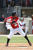 Kristopher Negron #11 of the Carolina Mudcats at bat during a game against the West Tenn Diamond Jaxx on May 30, 2010 in Zebulon, NC.