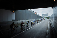peloton emerging from the tunnel<br /> <br /> 2017 National Championships Belgium - Elite Men - Road Race (NC)<br /> 1 Day Race: Antwerpen &gt; Antwerpen (233km)