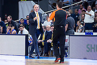 Khimki Moscow's Dusko Ivanovic talks with the referee during Euroleague match at Barclaycard Center in Madrid. April 07, 2016. (ALTERPHOTOS/Borja B.Hojas) /NortePhoto