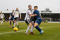 7th March 2020; Somerset Park, Ayr, South Ayrshire, Scotland; Scottish Championship Football, Ayr United versus Dundee FC; Jordan Houston of Ayr United challenges for the ball with Andrew Nelson of Dundee