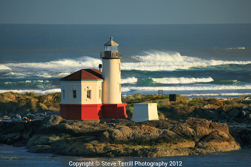 Coquille River Lighthouse at sunrise in Bandon Oregon