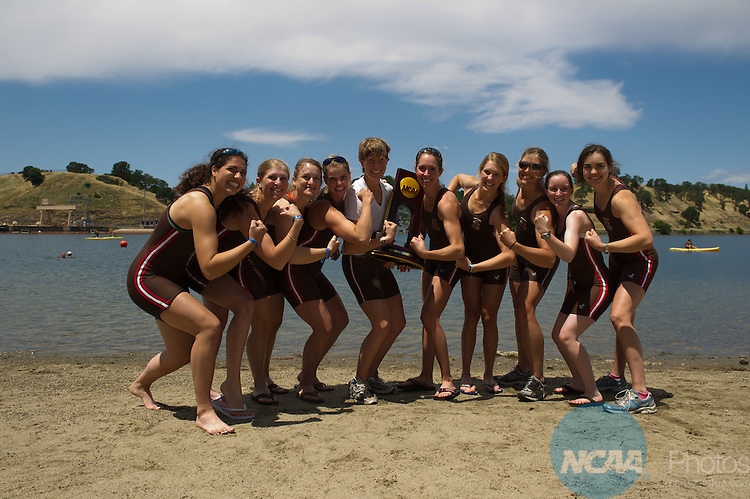 29 MAY 2011:  Brown University celebrates their team championship during the Division I Women's Rowing Championship hosted by Washington State University held at the Sacramento State Aquatic Center in Gold River, CA.  Jose Luis Villegas/NCAA Photos