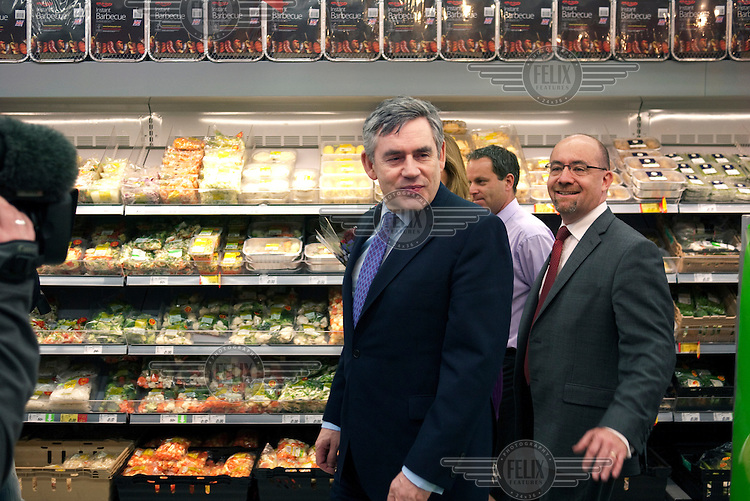 Prime Minister and Labour Party leader Gordon Brown campaigns at an Asda supermarket in Weymouth.