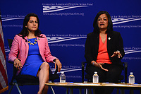 """Washington, DC - May 22, 2017: U.S. Representatives Nanette Diaz Barragán and Pramila Jayapal participate in the """"Beyond the Ambition Gap: Challenging the Systems That Keep Women Off Ballots and Out of Office"""" panel discussion held by the Center for American Progress in the District of Columbia May 22, 2017. Carmel Martin, Executive Vice President, Center for American Progress Action Fund moderated the discussion. (Photo by Don Baxter/Media Images International)"""