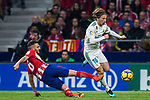 Luka Modric (r) of Real Madrid is tackled by Jorge Resurreccion Merodio, Koke, of Atletico de Madrid during the La Liga 2017-18 match between Atletico de Madrid and Real Madrid at Wanda Metropolitano  on November 18 2017 in Madrid, Spain. Photo by Diego Gonzalez / Power Sport Images