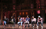 """Lauren Boyd, Johanna Moise, Deon'te Goodman, Marc delaCruz, Gabriella Sorrentino and Terrance Spencer during the Q & A before The Rockefeller Foundation and The Gilder Lehrman Institute of American History sponsored High School student #EduHam matinee performance of """"Hamilton"""" at the Richard Rodgers Theatre on 4/03/2019 in New York City."""