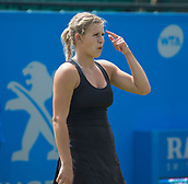 June 11th 2017, Nottingham, England;WTA Aegon Nottingham Open Tennis Tournament day 2;  Jana Fett of Croatia disappointed with a shot in her match against Sachia Vickery of USA