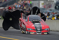 Oct. 6, 2012; Mohnton, PA, USA: NHRA funny car driver Cruz Pedregon during qualifying for the Auto Plus Nationals at Maple Grove Raceway. Mandatory Credit: Mark J. Rebilas-
