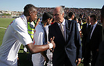 Members of the Italian delegation shake hand with Palestinian players during a friendly football match between the Palestinian and Italian Olympic teams to mark the inauguration of the Dura Stadium near the West Bank city of Hebron on June 12, 2011. Photo by Najeh Hashlamoun .