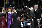 Opera soprano singers Maria Alejandres (L-R). Eugenia Garza, Olivia Gorra and tenor singer Placido Domingo  perform an opera song during the Concert of the Angel in Mexico City, December 19, 2009. Domingo and Gorra played the concert with sopranos singers Maria Alejandres and Eugenia Garza. Photo by Heriberto Rodriguez
