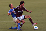July 22 2007:  Davy Arnaud (22) of the Wizards fouls Mehdi Ballouchy (r) of the Rapids.  The MLS Kansas City Wizards tied the visiting Colorado Rapids 2-2 at Arrowhead Stadium in Kansas City, Missouri, in a regular season league soccer match.