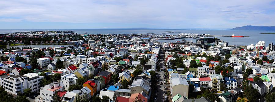 View of Reykjavik from steeple of Hallgrímskirkja church, Reykjavik, Iceland