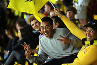 Fans in the grandstand during the A-League football match between Wellington Phoenix and Melbourne Victory FC at Sky Stadium in Wellington, New Zealand on Sunday, 15 March 2020. Photo: Dave Lintott / lintottphoto.co.nz