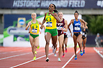 EUGENE, OR - JUNE 10: Raevyn Rogers of the University of Oregon races to victory in the 800 meter run during the Division I Women's Outdoor Track & Field Championship held at Hayward Field on June 10, 2017 in Eugene, Oregon. Rogers won the event with a 2:00.2 time. (Photo by Jamie Schwaberow/NCAA Photos via Getty Images)