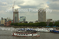 A Thames riverboat and the London Weekend tv studios tower block in the distance(r). <br /> <br /> <br /> Photo credit: Jeff Thomas - Jeff Thomas Photography - 07837 386244/07837 216676 - www.jaypics.photoshelter.com - thomastwotimes@live.co.uk