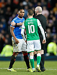 05.02.2020 Rangers v Hibs: Alfredo Morelos remonstrates with Martin Boyle and ref Bobby Madden