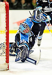 29 January 2010: University of Maine Black Bears' goaltender Scott Darling, a Sophomore from Lemont, IL, gives up a second period goal to the University of Vermont Catamounts at Gutterson Fieldhouse in Burlington, Vermont. The Black Bears defeated the Catamounts 6-3 in the first game of their America East weekend series. Mandatory Credit: Ed Wolfstein Photo