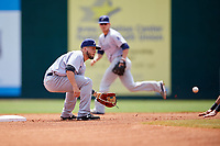 Pensacola Blue Wahoos shortstop Blake Trahan (32) waits to receive a throw during a game against the Mobile BayBears on April 26, 2017 at Hank Aaron Stadium in Mobile, Alabama.  Pensacola defeated Mobile 5-3.  (Mike Janes/Four Seam Images)