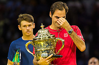 27th October 2019; St. Jakobshalle, Basel, Switzerland; ATP World Tour Tennis, Swiss Indoors Final; Roger Federer (SUI) cries during a speech to the crowd after winning the match against Alex de Minaur (AUS) - Editorial Use
