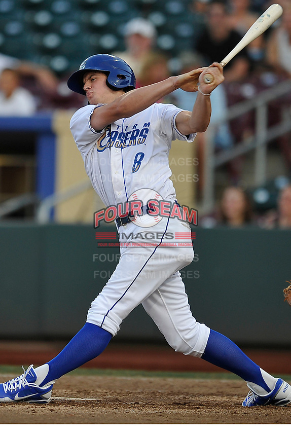 Omaha Storm Chasers outfielder Will Myers #8 takes a swing during the game against the Reno Aces at Werner Park on August 3, 2012 in Omaha, Nebraska.(Dennis Hubbard/Four Seam Images)