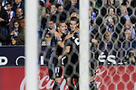 James Rodriguez and Alvaro Morata of Real Madrid celebrates after scoring a goal during the match of  La Liga between Club Deportivo Leganes and Real Madrid at Butarque Stadium  in Leganes, Spain. April 05, 2017. (ALTERPHOTOS / Rodrigo Jimenez)