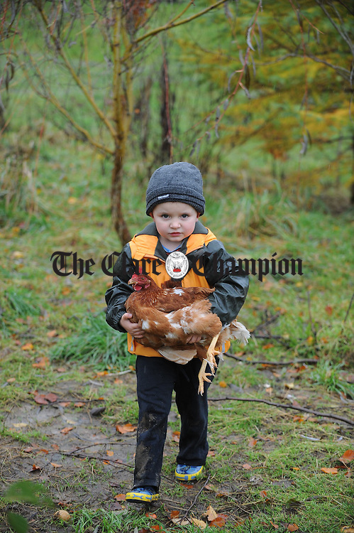 Tadhg Raleigh gets to grips with a hen in the yard  at the Teach Spraoi playschool at Toonagh. Photograph by John Kelly.