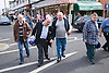 Group of friends crossing the road whilst on a day trip to Skegness organised by Nottingham Disabled Friendship Club,