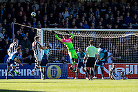 Goalkeeper Jamal Blackman of Wycombe Wanderers (on loan from Chelsea) flick away a cross during the Sky Bet League 2 match between Wycombe Wanderers and Notts County at Adams Park, High Wycombe, England on the 25th March 2017. Photo by Liam McAvoy.