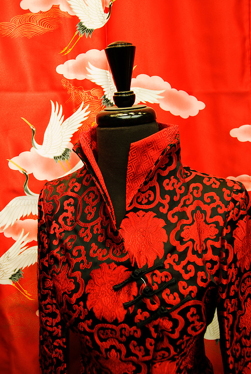 California, San Francisco: Fashions in a Chinatown shop on Grant Avenue..Photo #: 17-casanf77650.Photo © Lee Foster 2008
