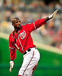 23 April 2010: Washington Nationals' outfielder Nyjer Morgan calls time at second base during a game against the Los Angeles Dodgers at Nationals Park in Washington, DC. The Nationals defeated the Dodgers 5-1 in the first game of their 3-game series. Mandatory Credit: Ed Wolfstein Photo