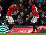 Odion Ighalo of Manchester United (r) celebrates scoring the third goal with Diogo Dalot of Manchester United during the FA Cup match at the Pride Park Stadium, Derby. Picture date: 5th March 2020. Picture credit should read: Darren Staples/Sportimage