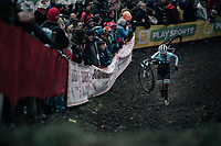 Evie Richards (GBR/TrekFactoryRacing) leading the race<br /> <br /> Women's race<br /> UCI CX World Cup Namur / Belgium 2017