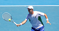 MIKHAIL KUKUSHKIN (RUS) against ANDY MURRAY (GBR )in the fourth round of the Men's Singles. Andy Murray beat Mikhail Kukushikin 6-1 6-1 1-0 (retired)..23/01/2012, 23rd January 2012, 23.01.2012 - Day 8..The Australian Open, Melbourne Park, Melbourne,Victoria, Australia.@AMN IMAGES, Frey, Advantage Media Network, 30, Cleveland Street, London, W1T 4JD .Tel - +44 208 947 0100..email - mfrey@advantagemedianet.com..www.amnimages.photoshelter.com.