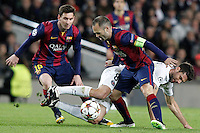 FC Barcelona's Leo Messi (l) and Andres Iniesta (r) and Paris Saint-Germain's Thiago Motta during Champions League 2014/2015 match.December 10,2014. (ALTERPHOTOS/Acero) /NortePhoto