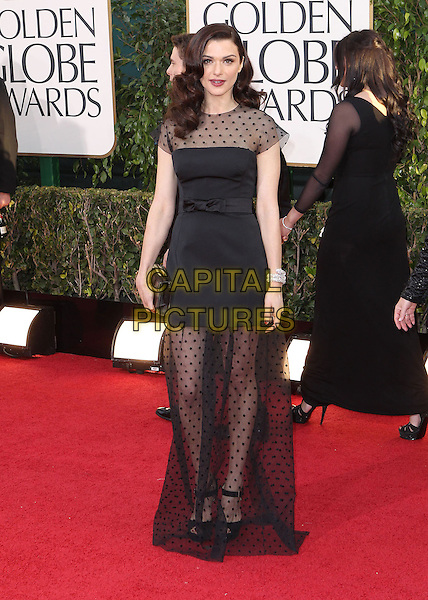 Rachel Weisz.70th Annual Golden Globe Awards held at the Beverly Hilton Hotel, Hollywood, California, USA..January 13th, 2013.globes full length black sheer polka dot dress  .CAP/ADM/SLP/COL.©Collin/Starlitepics/AdMedia/Capital Pictures.