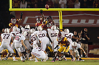 LOS ANGELES, CA-OCTOBER 29,2011- Stanford defeated USC 56-48.  Eric Whitaker (46) puts the ball through the uprights during play against USC at the L.A. Coliseum in Los Angeles, CA.