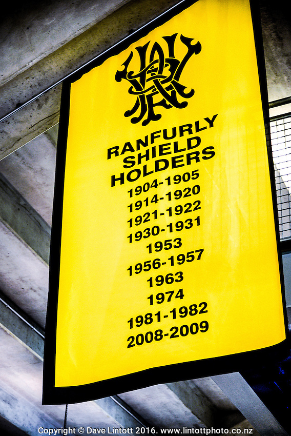 A Ranfurly Shield banner hangs on the concourse during the Mitre 10 Cup rugby union match between Wellington Lions and North Harbour at Westpac Stadium, Wellington, New Zealand on Saturday, 3 September 2016. Photo: Dave Lintott / lintottphoto.co.nz