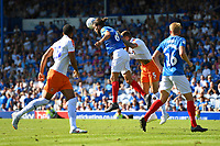 Christian Burgess of Portsmouth wins a header from Sonny Bradley of Luton Town during Portsmouth vs Luton Town, Sky Bet EFL League 1 Football at Fratton Park on 4th August 2018