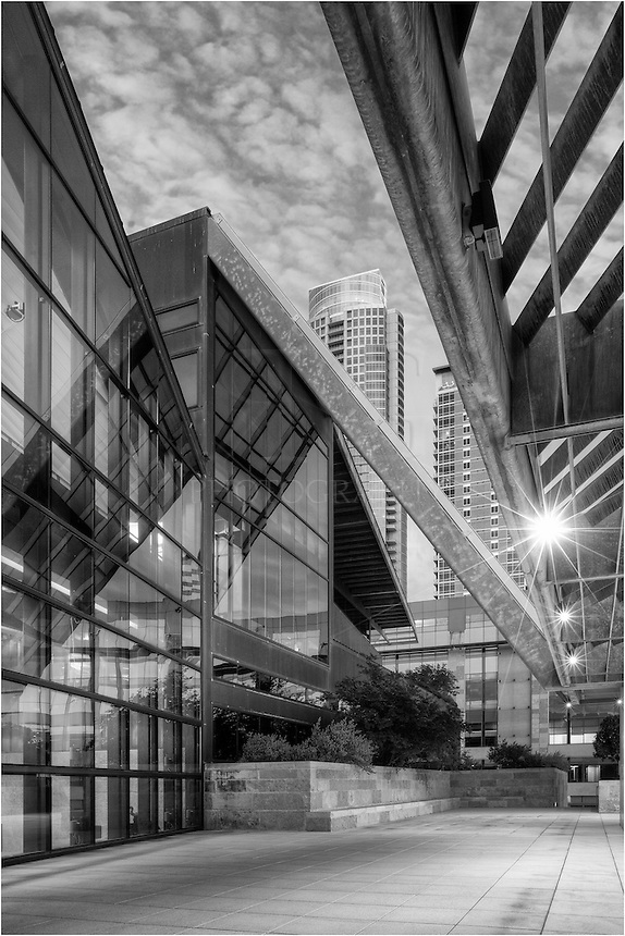 This image of Austin City Hall and Austin Architecture is a conversion into black and white. The new Austin City Hall sits on the shores of Lady Bird Lake in the happenin' area of the Warehouse District.